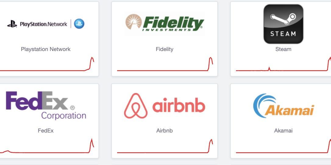 Fidelity, FedEx, UPS, Airbnb y más sitios web se bloquean